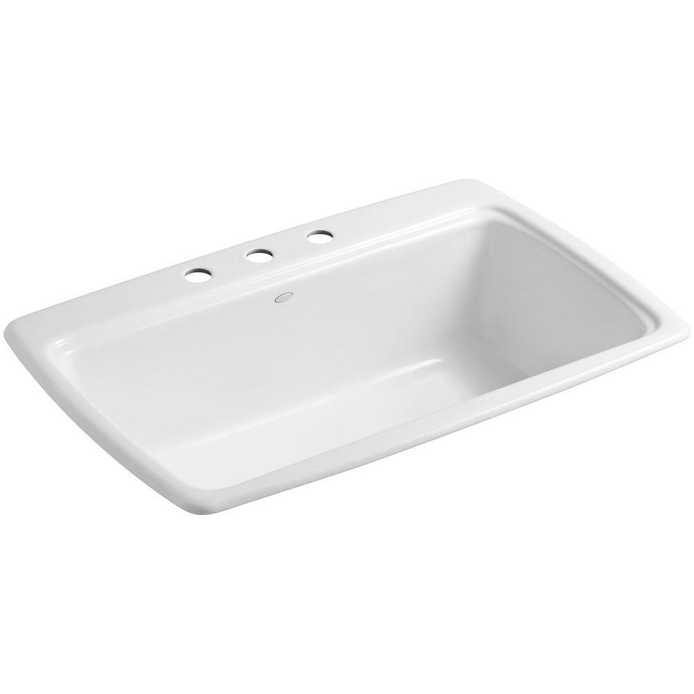 Kohler 5863 3 0 White 33 Single Basin Top Mount Enameled Cast Iron Kitchen Sink Southern