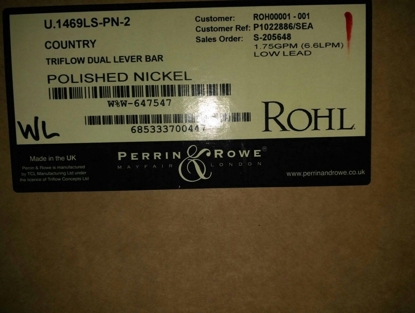 U.1469LS-PN-2 Perrin and Rowe Triflow Technology Filtration 2-Lever ...