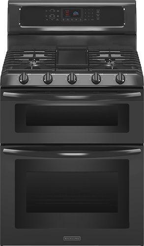 "Kitchenaid Gas Stoves kitchenaid kgrs505xbl 30"" black freestanding dbl oven gas range"