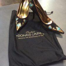 Donald-J-Pliner-Couture-Black-Suede-Bronze-Metallic-Trim-Pump-65-M-NEW-222264408634